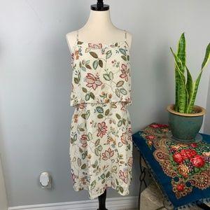 Madewell Floral Cream Silk Overlay Cami Dress 10